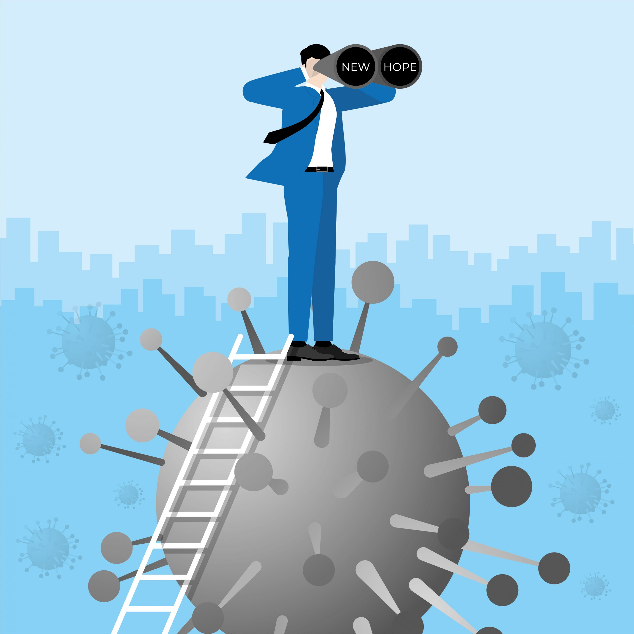 Business Vision concept. Businessman climb up the ladder standing over the virus COVID-19 coronavirus. Using binoculars for searching a new hope opportunity. Vector Illustration flat style.